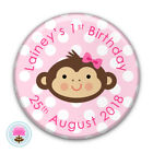 Personalised LITTLE MONKEY Jungle Pink Girl's Birthday Party BADGE (58mm)