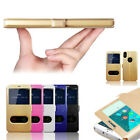 Luxury Slim PU Leather Flip View Window Silk pattern Cover Case For Cell Phones