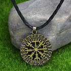 Norse Viking Compass Pendant Nordic Pirate Pendant Cord Rope Necklace Amulet photo