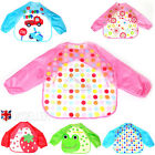 Baby Toddler Kid Long Sleeve Waterproof Feeding Art Apron feed Bib Smock US
