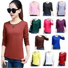 Long Sleeve Crew Neck Basic Women T-Shirt Solid Color Top Fitted Plain Stretch