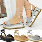Womens Ladies Flatforms Ankle Lace Up Sandals Wedge Platform Summer Shoes Size