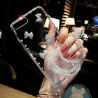 For Samsung S9 Plus Cute Bling Diamond Bowknot Clear Case Cover & Crystal Strap