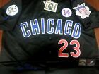 black! Chicago Cubs Throwback #23 Ryne Sandberg Cooperstown 3Patches sewn Jersey