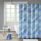Luxury Blue & White Marina Sheer Fabric Shower Curtain w/Liner - 72x72""