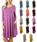 Scoop Neck 3/4 Slv Round Hem A Line DRESS With Side Pockets S ~ XL