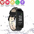 Waterproof Smart Watch Blood Pressure Monitor Wristband Leather Bracelet Android