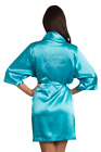 Maui Blue-Matron of Honor Title-Clear Rhinestone Satin Robe-Factory Seconds!!