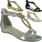 Womens Studded Gladiator Sandals Ladies T-Bar Comfy Low Wedge Heel Shoes Size