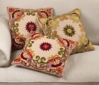 Fennco Styles Hand Beaded Floral Embroidery Cotton Filled Throw Throw Pillow
