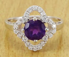925 Pure Silver Amethyst Stone Women Party Designer Ring Finger Band Jewelry