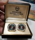 Rare MIB 1962 US Navy Motion Picture Service GEMSCO gold toned cuff links set