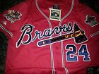 NEW RED! Atlanta Braves Throwback #24 Deion Sanders Dual patch Stitched Jersey