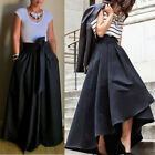 Women Stretch High Waist Flared Pleated Swing Irregular Long Maxi Skirt Dress US