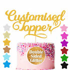 Custom Personalised Glitter Cake Topper Any Name Word Birthday Party Decoration <br/> DOUBLE SIDED GLITTER PAPER