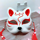 Japanese Anime Half Face Fox Mask Hand-painted Kitsune Halloween Cosplay Party