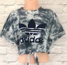 Reworked ADIDAS ORIGINALS Tie Dye Crop Top Tie At The Front T shirt ONE SIZE