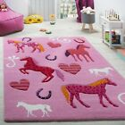 Pink Childrens Rug Kids Bedroom Play Mat Horses Hoof Themed Nursery Soft Carpet