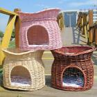 2 Tier Wicker Cat Bed Basket Pet Pod House Sleeping Cushions Puppy Small Dog Bed