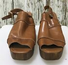 TOPSHOP Tan Brown Leather Platform Ankle Strap Shoes Ladies Size UK 40 7 5148