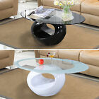 High Gloss Black/white Oval Glass Stylish Coffee Table Living Room Furniture