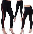 Red And Green Vertical Stripe Legging Womens Stretchy Sports Jogging Leggings