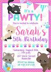 Cat, Kitten, Kitty, Birthday Party Invitation,Girl, Pink - Printable or Printed
