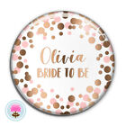 Personalised SPOT Pink Rose Gold Foil (58 mm) Bride to Be / Hen Party PIN BADGE