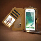 2 In 1 Removable Leather Wallet Pouch Zipper Purse Phone Case For iPhone Samsung