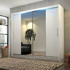 New Double Mirror White Sliding Door Wardrobe Led 120/150/183/204/233cm