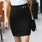 New Women's High Waist Belt  Fitted Short Pencil Bodycon Suit Work Office Skirt