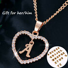 Ep_ Gold Silver Plated Initial Alphabet Letter A-s Heart Pendant Chain Necklace