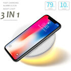 10W Qi Wireless Fast Charger Charging Holder Alarm Clock Night Light For iPhone