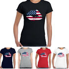 Women Usa Flag Lips Tshirt Patriotic Tee Tank Top Pride American Biker Gift S-XL