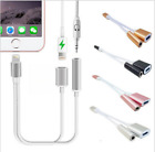 2 in1 Lightning to 3.5mm Headphone Jack Adapter Charge Cable For iPhone X/8/7/6S