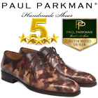 Paul Parkman Camouflage Hand-Painted Wholecut Oxfords Brown New Gift Luxury