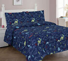 Navy Dinosaur Full or Twin Kids Comforter Bed Set With Plush Toy and Sheet Set