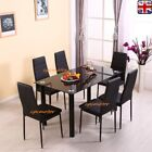 Black Glass Dinning Table & Chair Sets 4 / 6 Chairs Set Kitchen Furniture UK