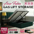Upholstered Linen Bed Base Frame Fabric Gas Lift Storage King Queen Double Size