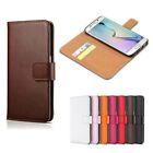 Genuine Real Leather Flip Wallet Case Card Slot Cover Samsung Galaxy S5 S6 S7