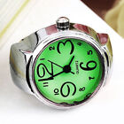 Creative Fashion Metal Round Elastic Colorful Finger Ring Watch Dial Quartz Gift
