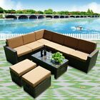 Conservatory Patio 8 Seater Rattan L Shaped Corner Sofa Set Garden Furniture Set