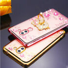 Bling Glitter Diamond Soft Silicone Case Cover+Metal Ring Holder For Cell Phones