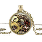 Steampunk Gear Dial Necklace Handmade Time Gem Pendant Jewelry Uk Stock