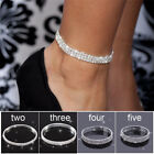 Silver Ankle Bracelet Stretchy 2 3 4 5 Rows Anklet Chain Diamante Rhinestones image