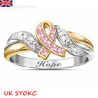 Womens Exquisite White Pink Sapphire 925 Sterling Silver Rings Band Cz L N P R T