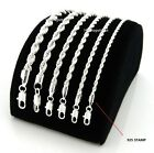 Mens Rope Chain Necklace Bracelet 2mm to 6mm 925 Silver Plated 8,18, 20, 24, 30""
