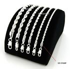 """Mens Rope Chain Necklace Bracelet 2mm to 6mm 925 Silver Plated 8,18, 20, 24, 30"""" image"""