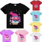 TROLLS Girls Kids Cartoon Cotton T-shirt Short Sleeve Casual Summer Costumes image