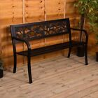 Steel Garden Bench 3 Seater Outdoor Patio Park Seating Furniture Home Seat